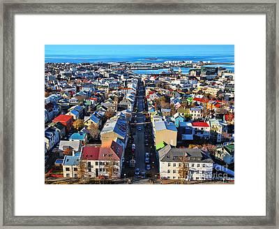Reykjavik Cityscape Panorama Framed Print by Jasna Buncic