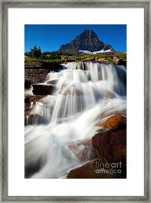 Framed Print featuring the photograph Reynolds Peak Waterfall by Aaron Whittemore