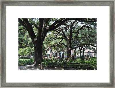 Reynolds Square In Savannah Framed Print by Kay Mathews
