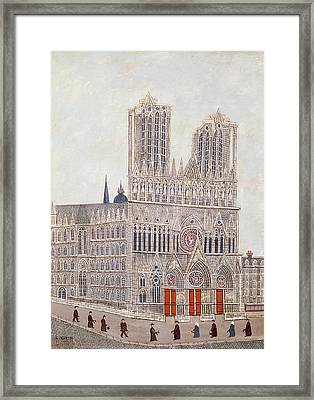Rheims Cathedral, C.1923 Oil On Canvas Framed Print