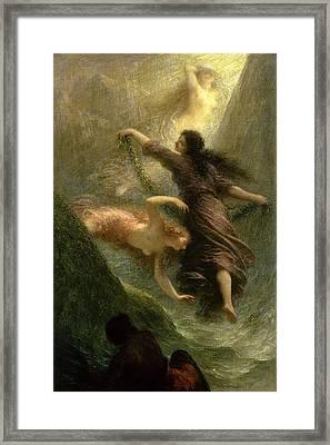 Rheingold, First Scene, 1888 Oil On Canvas Framed Print