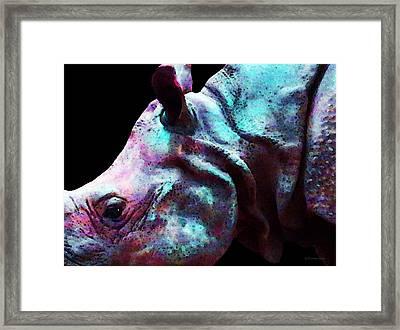 Rhino 1 - Rhinoceros Art Prints Framed Print by Sharon Cummings