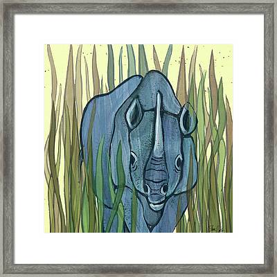 Rhino In Marsh Framed Print by Shanni Welsh
