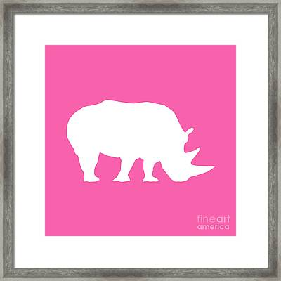 Rhino In Pink And White Framed Print