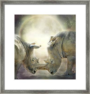 Rhino Love Framed Print by Carol Cavalaris