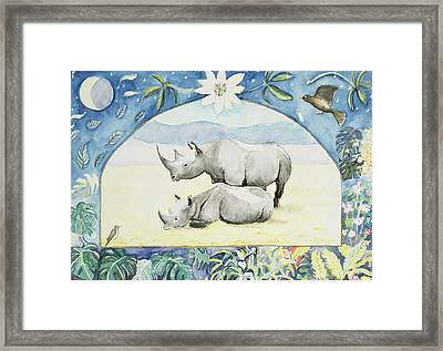 Rhino Month Of February From A Calendar Framed Print by Vivika Alexander