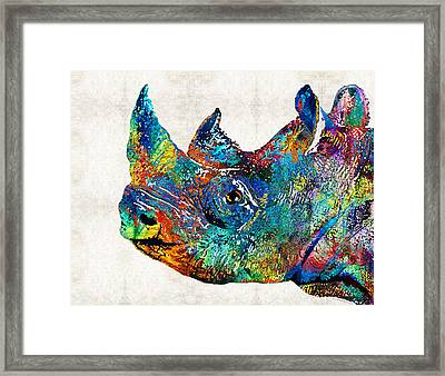 Rhino Rhinoceros Art - Looking Up - By Sharon Cummings Framed Print by Sharon Cummings