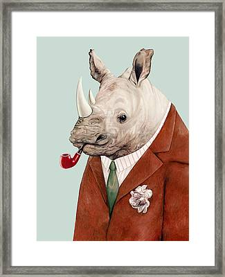 Rhino Framed Print by Animal Crew