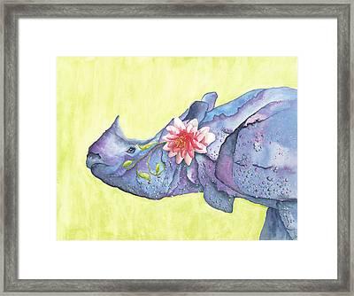 Rhino Whimsy Framed Print by Mary Ann Bobko
