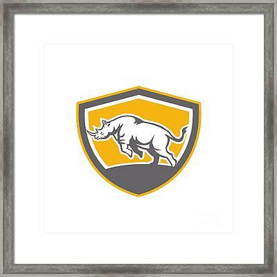 Rhinoceros Charging Side Shield Retro Framed Print by Aloysius Patrimonio