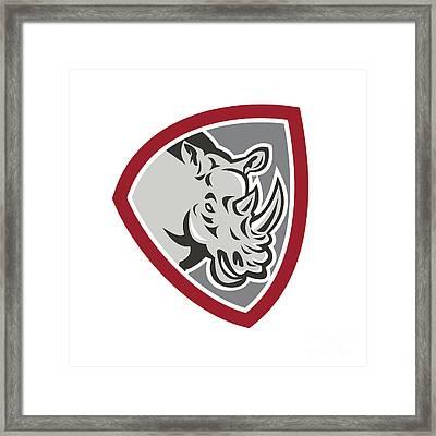 Rhinoceros Head Side Shield Framed Print by Aloysius Patrimonio