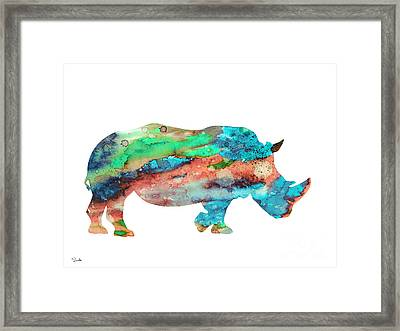 Rhinoceros  Framed Print by Watercolor Girl