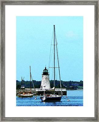 Rhode Island - Boats Near Lighthouse Bristol Ri Framed Print