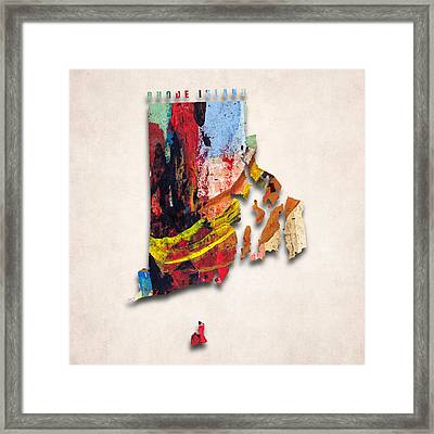 Rhode Island Map Art - Painted Map Of Rhode Island Framed Print by World Art Prints And Designs