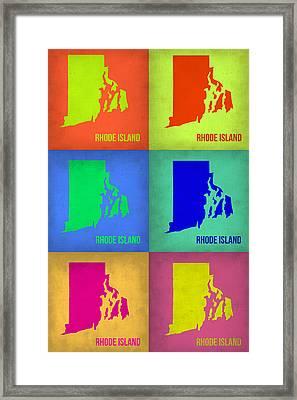 Rhode Island Pop Art Map 1 Framed Print by Naxart Studio
