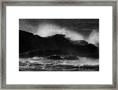Rhode Island Rocks With Crashing Wave Framed Print
