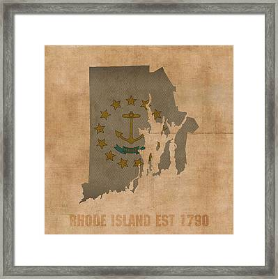 Rhode Island State Flag Map Outline With Founding Date On Worn Parchment Background Framed Print
