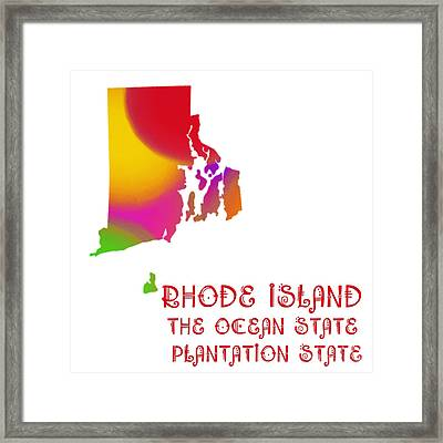 Rhode Island State Map Collection 2 Framed Print by Andee Design
