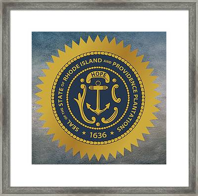 Rhode Island State Seal Framed Print by Movie Poster Prints
