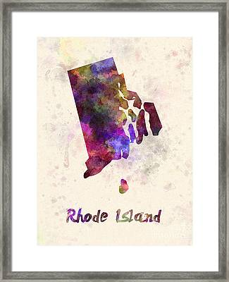 Rhode Island Us State In Watercolor Framed Print by Pablo Romero