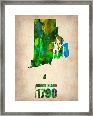 Rhode Island Watercolor Map Framed Print by Naxart Studio