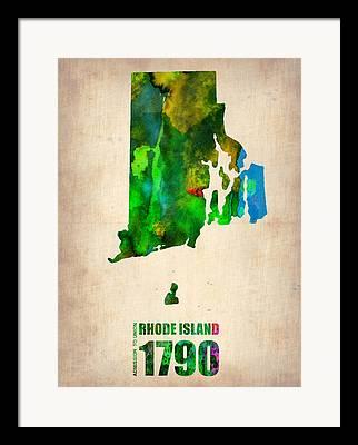 Rhode Island State Map Framed Prints