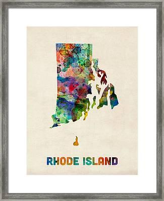 Rhode Island Watercolor Map Framed Print by Michael Tompsett