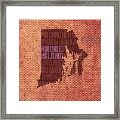 Rhode Island Word Art State Map On Canvas Framed Print by Design Turnpike