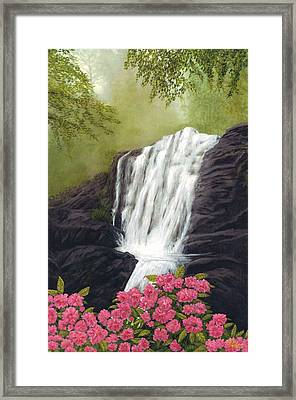 Framed Print featuring the painting Rhodedendron Falls by Rick Fitzsimons