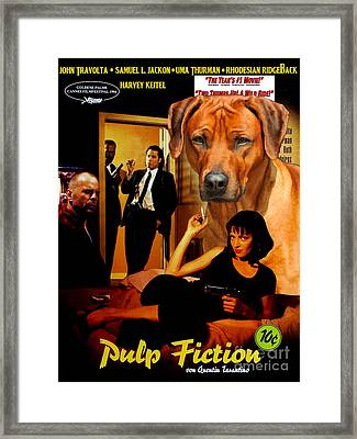 Rhodesian Ridgeback Art Canvas Print - Pulp Fiction Movie Poster Framed Print by Sandra Sij