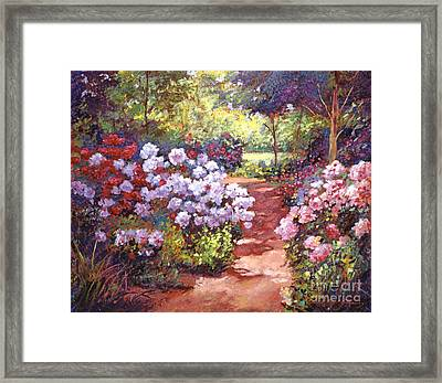 Rhododendron Stroll Framed Print by David Lloyd Glover