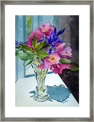 Rhododendrons And Iris Framed Print