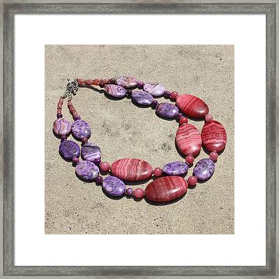 Rhodonite And Crazy Lace Agate Double Strand Chunky Necklace 3636 Framed Print