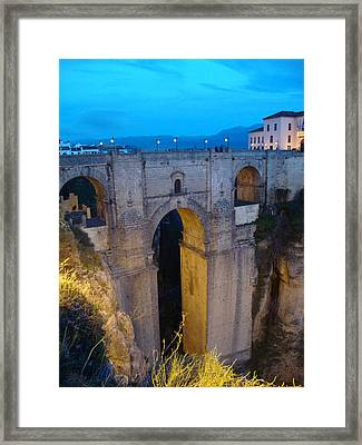 Rhonda Bridge Portrait At Twilight Framed Print by David  Ortiz