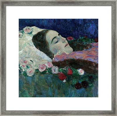 Ria Munk On Her Deathbed Framed Print by Gustav Klimt