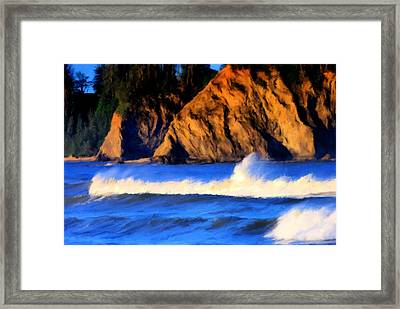 Rialto Beach Rooster Tail Framed Print by Paddrick Mackin
