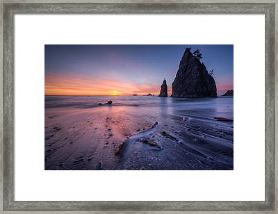 Framed Print featuring the photograph Rialto Beach Sunset by Dan Mihai