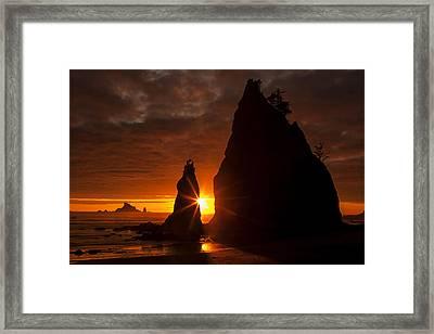Rialto Beach Sunset Percusion Framed Print by Mark Kiver