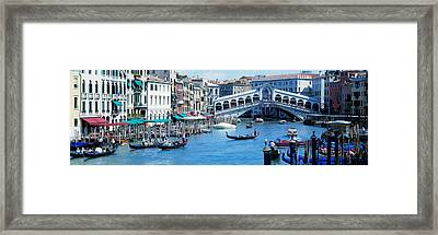 Rialto Bridge & Grand Canal Venice Italy Framed Print by Panoramic Images