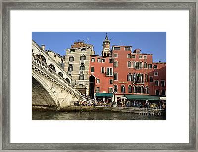 Rialto Bridge And Buildings Framed Print by Sami Sarkis