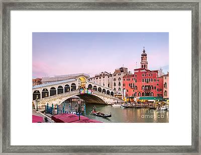 Rialto Bridge At Sunset - Venice Framed Print