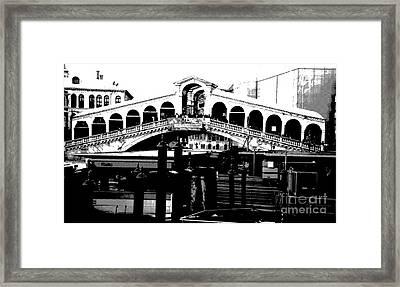 Rialto Bridge - Black And White Framed Print by Jacqueline M Lewis