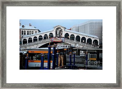 Rialto Bridge - Color Framed Print by Jacqueline M Lewis