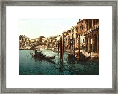 Rialto Bridge Venice Italy Refurbished Framed Print by L Brown