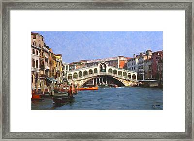 Rialto Bridge Venice Framed Print by Spyder Webb