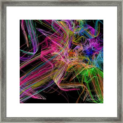 Ribbons And Curls Black - Abstract - Fractal Framed Print by Andee Design