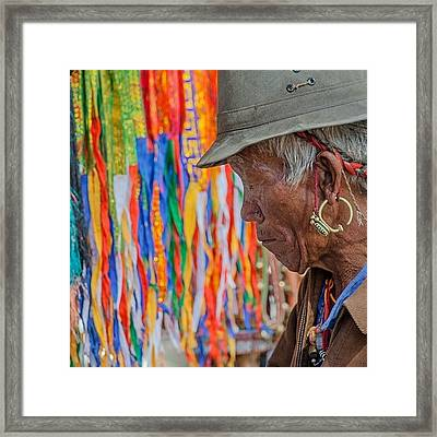 Ribbons And Old Man Framed Print