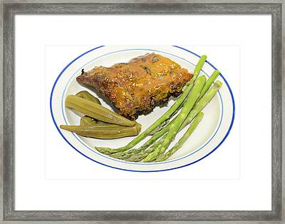 Ribs Plate With Vegetables Framed Print by Susan Leggett