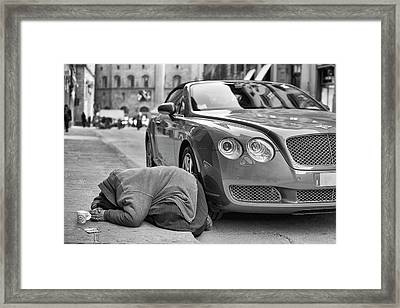 Rich And Poor Framed Print