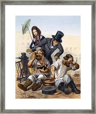 Rich Couple Speak To A Pair Of Drunken Framed Print by Rudolf Jukowsky